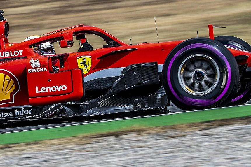 Ferrari's Sebastian Vettel set a lap record of 1min 11.212sec yesterday to take pole position in the German Grand Prix. Vettel leads Mercedes driver Lewis Hamilton by eight points in the world championship, but the Briton's hopes of a close contest i