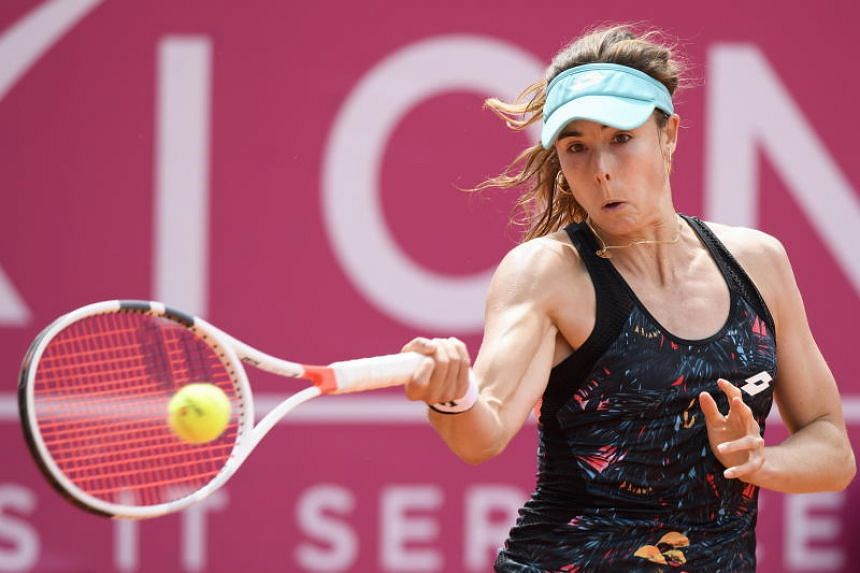 Alize Cornet of France at the final game at the WTA Ladies Championship tennis tournament in Gstaad, Switzerland, on July 22, 2018.