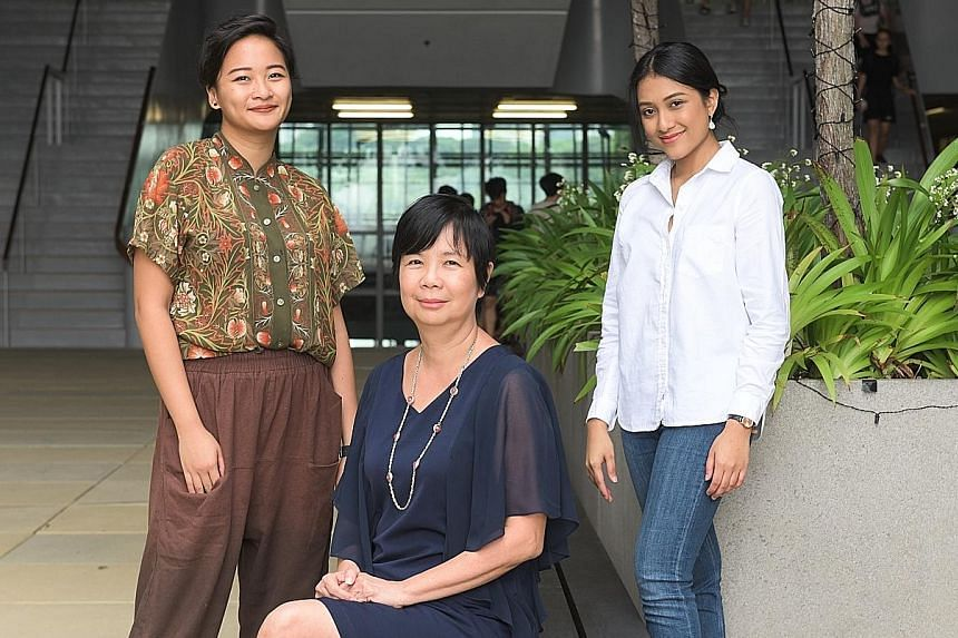 (From far left) Ms Joy Ho, freelance illustrator and cartoonist; Sota principal Lim Geok Cheng; and Ms Amni Musfirah, songwriter and producer. She also releases her own songs. Mr Milon Goh, besides performing in theatre shows in London and Singapore,
