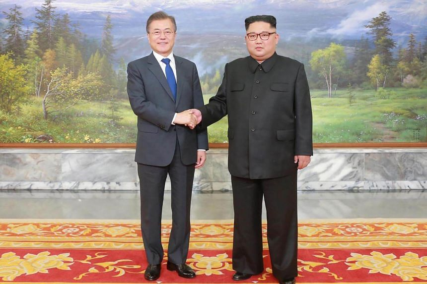 South Korean President Moon Jae-in (left) and North Korean leader Kim Jong Un have agreed to formally end the Korean War this year with a peace treaty.