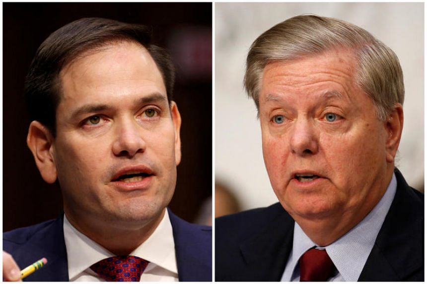 Republican US Senators Marco Rubio (left) and Lindsey Graham in this combination photo from US Senate hearings on Capitol Hill in Washington, US on March 14, 2018 and on June 18, 2018 respectively.