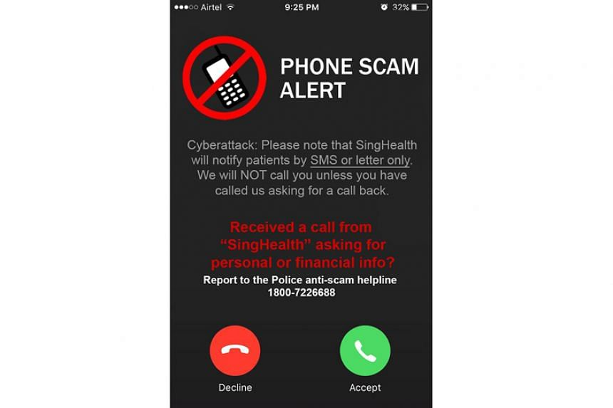 SingHealth has alerted the public to suspicious phone calls that have surfaced in the wake of the recent cyber attack.