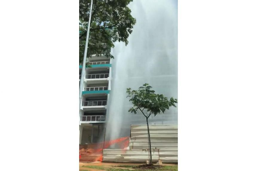 In a video uploaded by Facebook user Nuruddyn AF, a jet of water is sprayed to a height of about nine storeys.