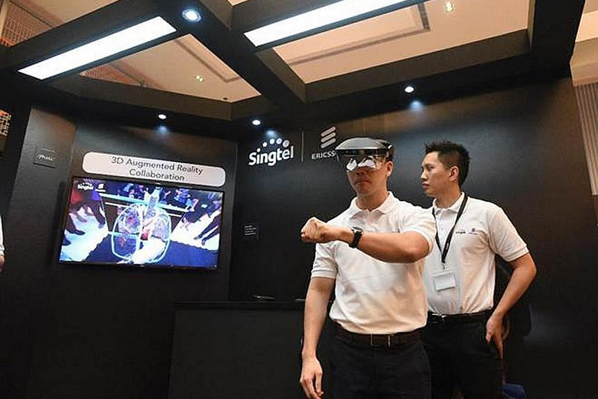 A demonstration of 3D Augmented Reality Collaboration over a 5G network. Singtel and Ericsson last year set up a joint Centre of Excellence to develop 5G technology, with an initial investment of $2 million to be deployed over three years.