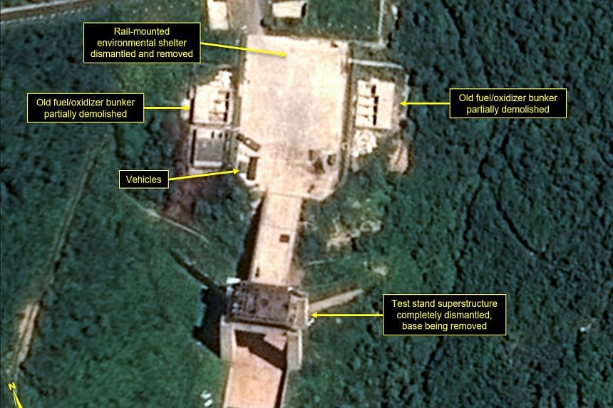 A satellite image showing the apparent dismantling of facilities at the Sohae satellite launching station, North Korea, on July 22, 2018.