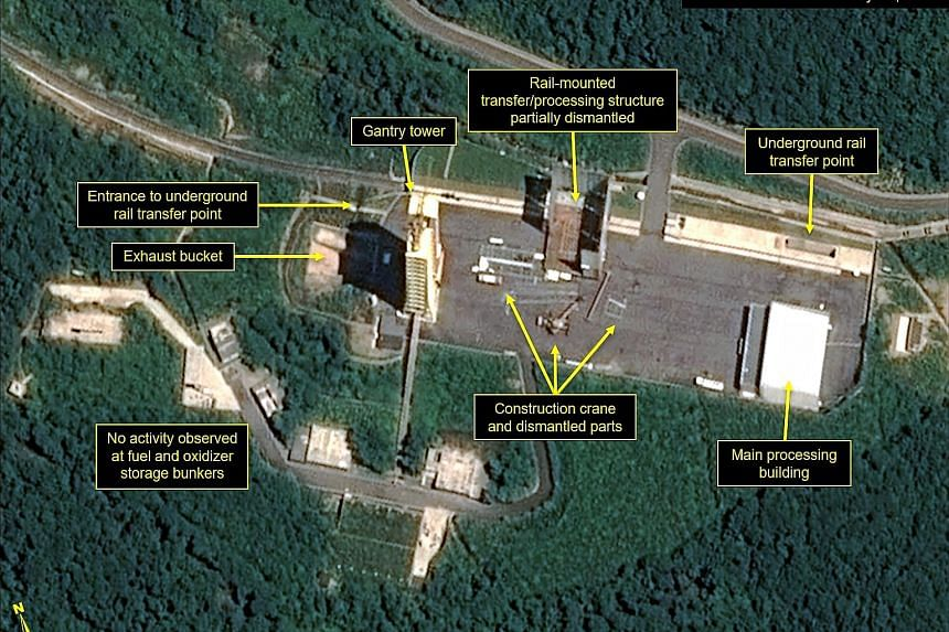 "A satellite image showing the apparent dismantling of facilities at North Korea's Sohae Satellite Launching Station. 38 North called the efforts ""a significant confidence-building measure"" on the North's part."