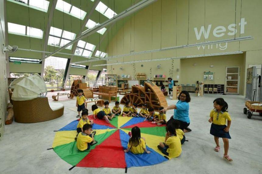 Children playing at Skool4Kidz's large childcare centre at Sengkang Riverside Park on July 25, 2018.
