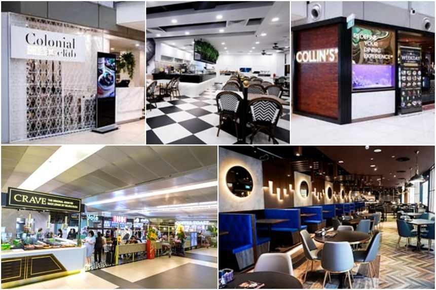 (Clockwise from top left) The exterior and interior of the 80-seater Colonial Club, the exterior and interior of Collin's, and Crave. These restaurants are among the new places serving Asian dishes at Changi Airport Terminal 3.