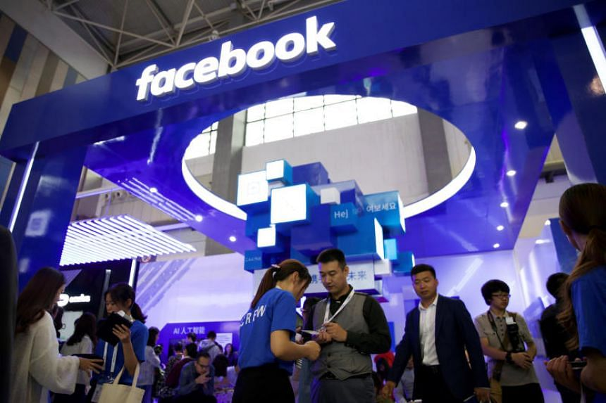 A Facebook booth is seen at the China International Big Data Industry Expo in Guiyang, Guizhou province, China, on May 27, 2018.