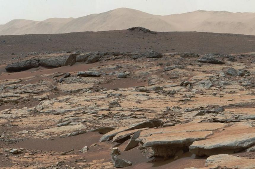 A series of sedimentary deposits in the Glenelg area of Gale Crater on Dec 9, 2013. Nasa's Curiosity rover has found remnants of an ancient freshwater lake on the surface of Mars.