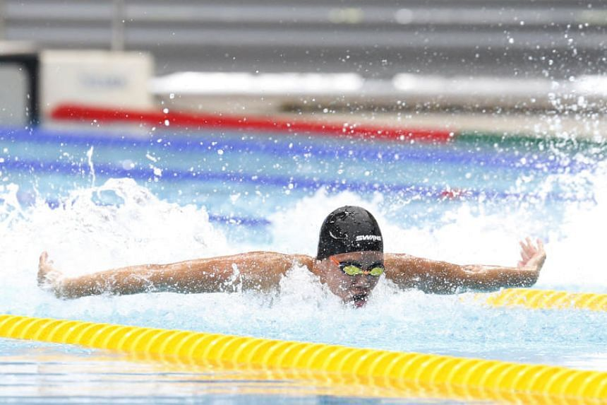 Mikkel Lee of Anglo-Chinese School (Independent) in the B Division 50m butterfly final at the OCBC Aquatic Centre on April 19, 2018.