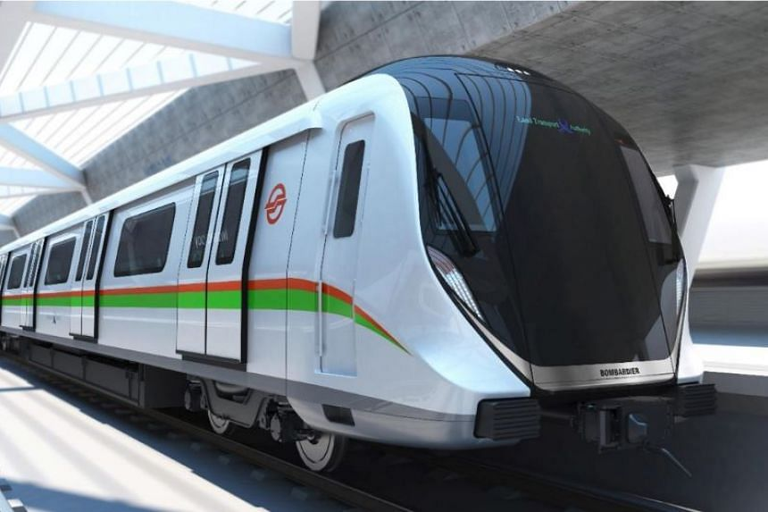 An artist's impression of one of the new trains by Bombardier, which will replace 66 first-generation trains that have been in service from the time the MRT started more than 30 years ago.