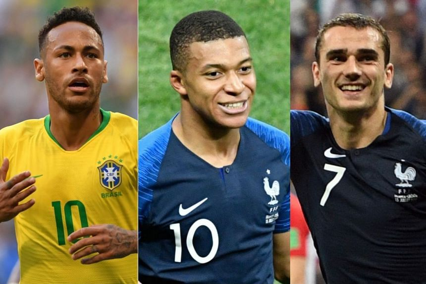 (From left) Neymar, Mbappe and Griezmann.were among big names not included in the line-ups.