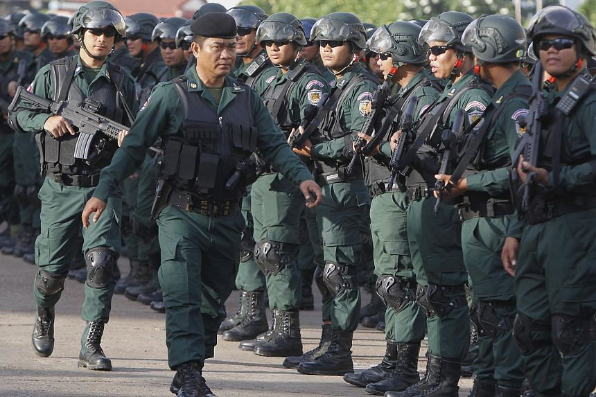 Cambodian police officers attending a mobilisation event in Phnom Penh, Cambodia, on July 25, 2018.