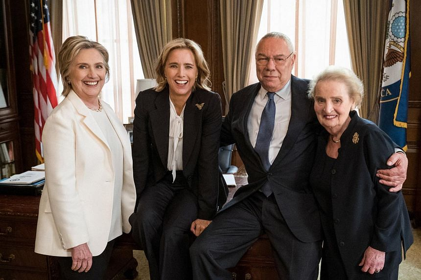 Three former U.S. secretaries of state, Hillary Clinton, Colin Powell (second right) and Madeleine Albright (right) are pictured with actress Tea Leoni (second left) on political television drama Madam Secretary, on July 24, 2018.