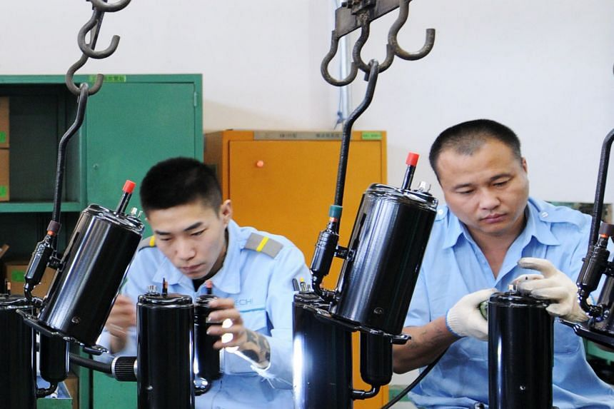 An appliance factory in China. The Chinese economy grew 6.7 per cent in the second quarter, the slowest expansion since 2016.