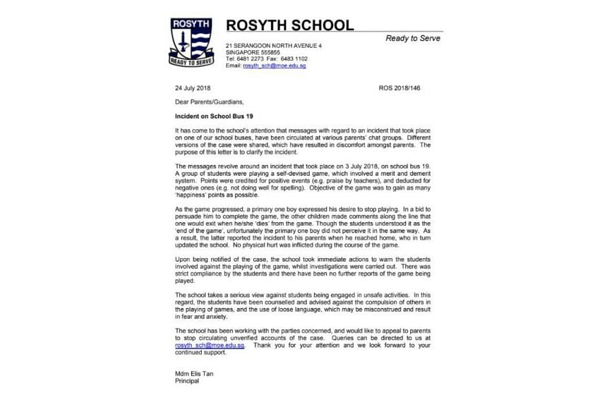 On July 25, 2018, Rosyth School sent a message to parents, saying that it had just become aware of another rumour and was preparing a response to it.