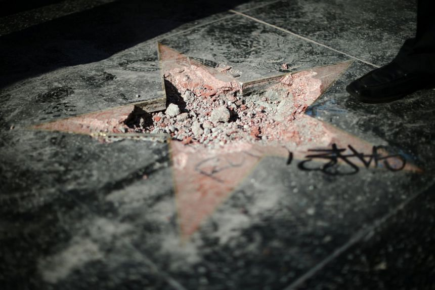 Trump's star is seen after it was vandalised on the Hollywood Walk of Fame.