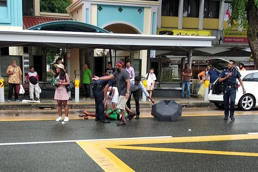A picture circulating on social media which appears to show the victim lying on Serangoon Road in front of a bus stop yesterday afternoon. The man, believed to be a Singaporean, was taken to Tan Tock Seng Hospital with injuries on the back of his hea
