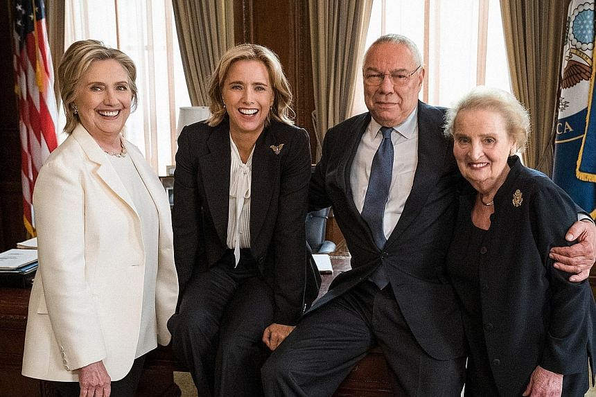 Fictional Secretary of State Elizabeth McCord, played by Tea Leoni (second from left), with former United States secretaries of state (from left) Hillary Clinton, Colin Powell and Madeleine Albright.