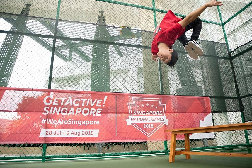 Bernard Ang from Superfly executing a somersault. Parkour is one of the new activities offered during the upcoming GetActive! Singapore.