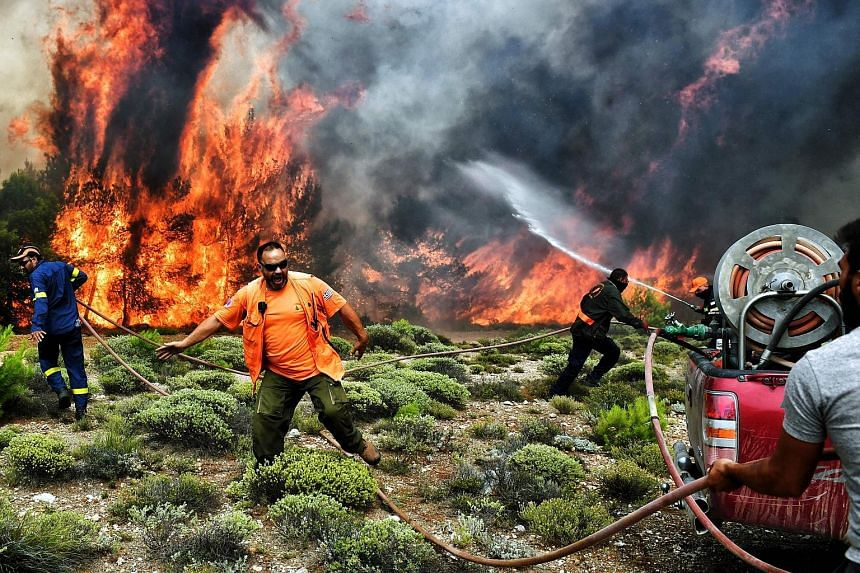 Firefighters and volunteers trying to extinguish flames during a wildfire near Athens on Tuesday.