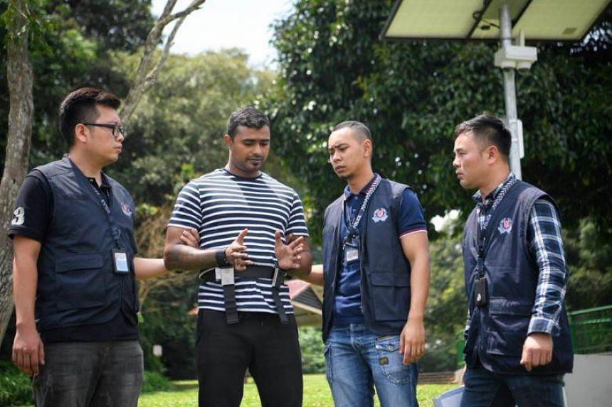 The Straits Times understands that the suspect, Arjun Retnavelu, tossed the sword into the reservoir at about 4pm on July 25, 2018. A second weapon - a kitchen knife - was left at the location of the attack in front of Broadway Hotel.