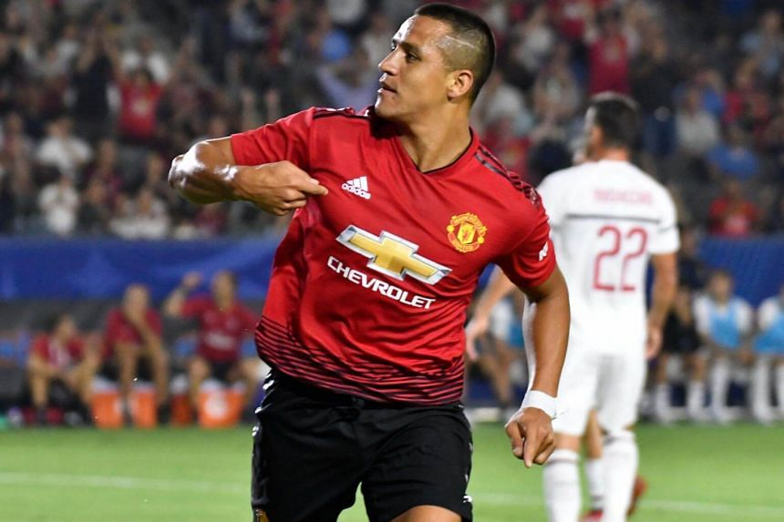 Manchester United forward Alexis Sanchez celebrates scoring a goal against AC Milan during their International Champions Cup friendly in Carson, California, on July 25, 2018.