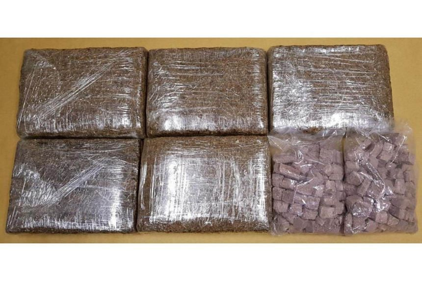 Cannabis and heroin seized at Tuas Checkpoint on July 25, 2018.