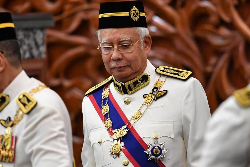 Former Malaysian prime minister Najib Razak at the opening ceremony of Parliament in Kuala Lumpur on July 17, 2018.