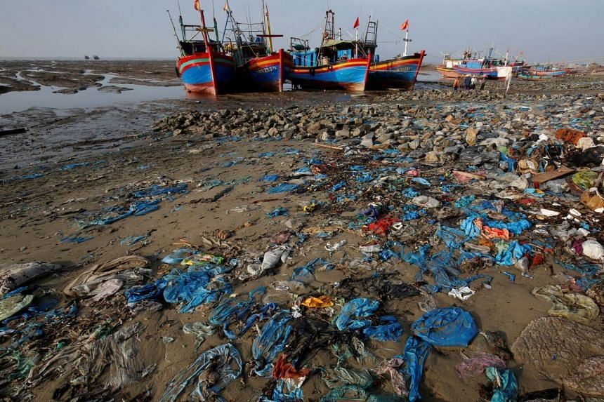 A beach with plastic waste in Thanh Hoa province, Vietnam, on June 4, 2018.