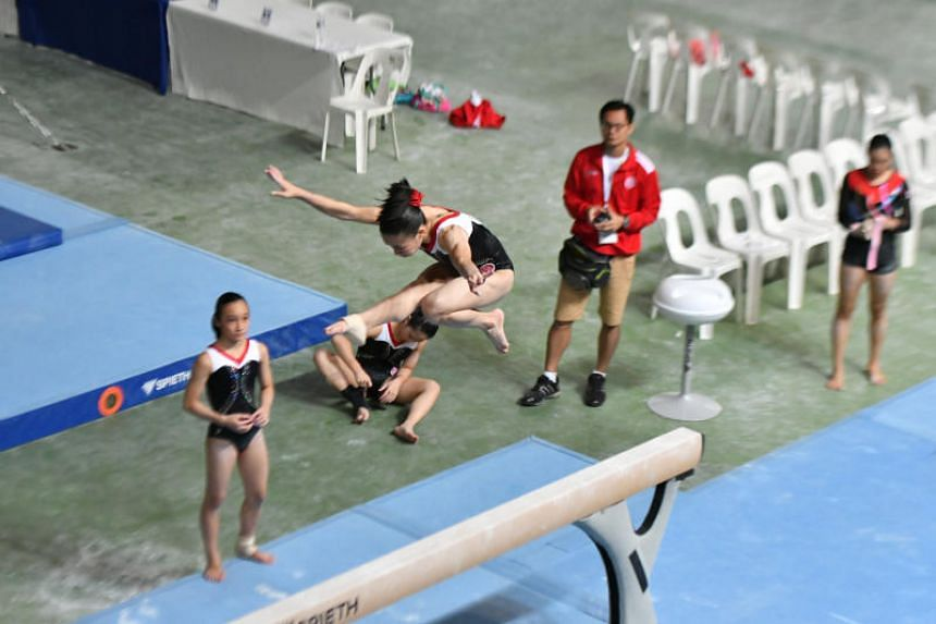 Chloe Neo, 14, scored a 10.433 in the Asean Schools Games 2018 girls' individual apparatus uneven bars final at the Bukit Jalil NSC Gymnastics Hall to clinch the gold on July 23, 2018