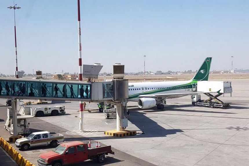 A generic photograph of an Iraqi Airways plane. The row erupted on a flight to the capital Baghdad from the Iranian city of Mashhad, with 157 travellers on board plus crew.