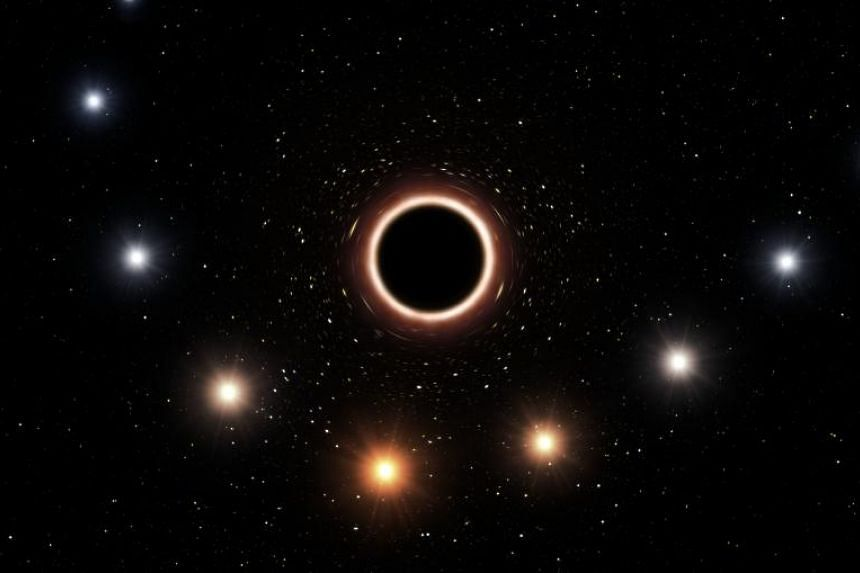 An artist impression of the path of the star S2 as it passes very close to the supermassive black hole at the centre of the Milky Way.