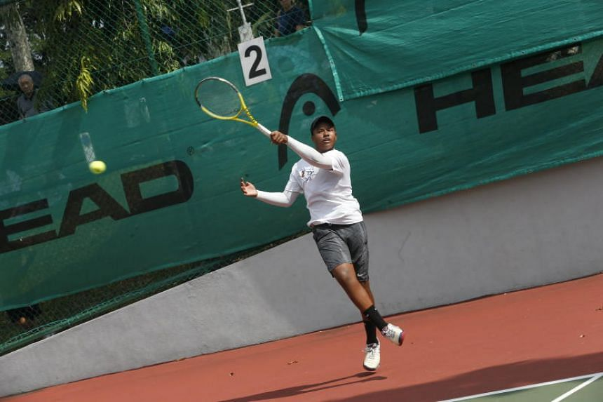 Anglo-Chinese School (Independent)'s Adithya Suresh in action the Schools National C Division boys' final match against Anglo-Chinese School (Barker Road) on July 26, 2018.
