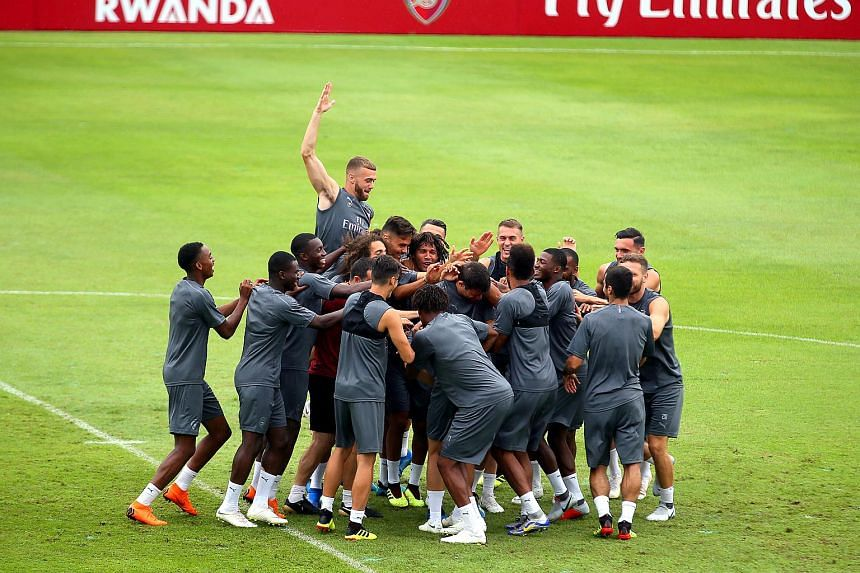 Arsenal players training at the Singapore American School ahead of their match against Atletico Madrid for the International Champions Cup, on July 26, 2018.