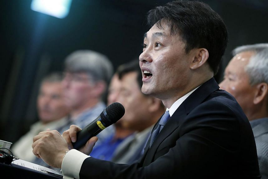 Shinil Marine chief executive Choe Yong-seok speaks during a press conference in Seoul, on July 26, 2018. Shinil said it had discovered the wreck of the Dmitrii Donskoi, a Russian armoured cruiser sunk in 1905.