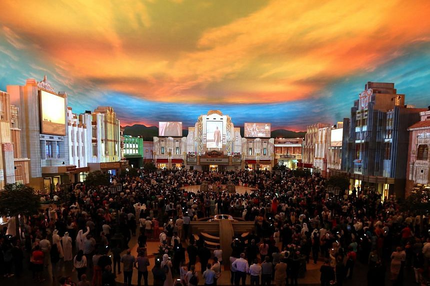 The Plaza of Warner Bros World Theme Park during the official opening ceremony of the theme park at Yas Island in Abu Dhabi, United Arab Emirates, on July 24, 2018.