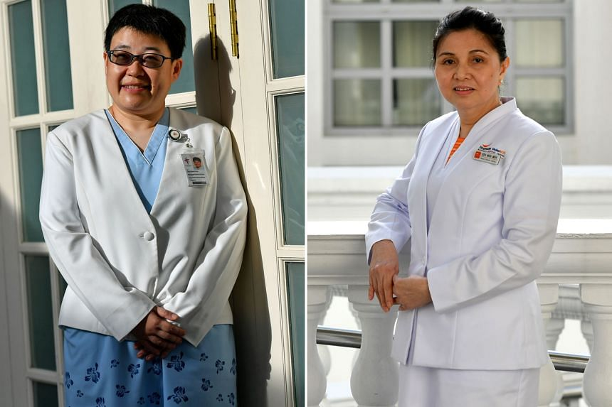 Ms Ang Ching Ching (left) of Tan Tock Seng Hospital and Ms Goh Meh Meh of Singapore General Hospital are among the six who received the President's Award for Nurses this year. The award, given out by President Halimah Yacob at the Istana yesterday, r