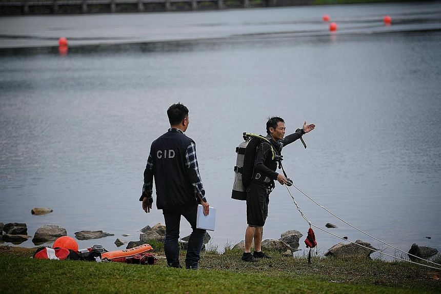 Right: The victim on the ground after the attack near 202 Serangoon Road on Wednesday. He is understood to be in a stable condition. Below: Mr Jacki Ng, one of the two commercial divers engaged to search the waters of Lower Peirce Reservoir yesterday