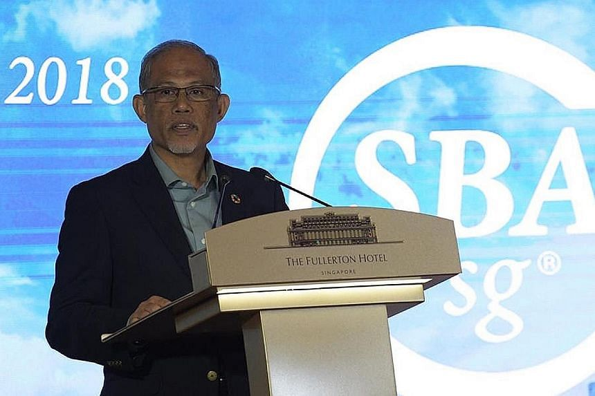 Environment and Water Resources Minister Masagos Zulkifli at the Sustainable Business Awards last night. Nearly 70 of Singapore's largest firms entered the contest and nearly half of the winners across all categories were Singaporean.