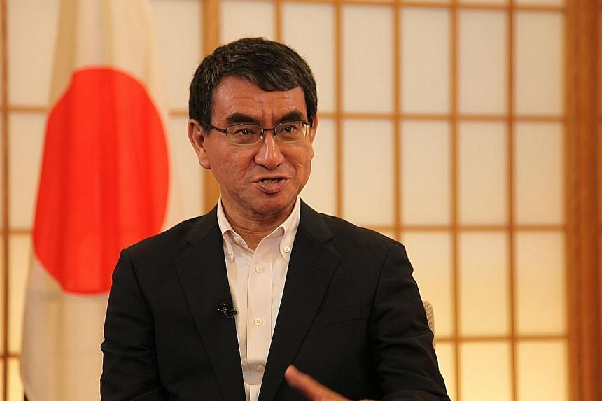 Speaking to The Straits Times in an exclusive interview yesterday, ahead of a visit to Singapore next week, Japanese Foreign Minister Taro Kono said Japan's Free and Open Indo-Pacific Strategy was not intended to compete with China's Belt and Road In