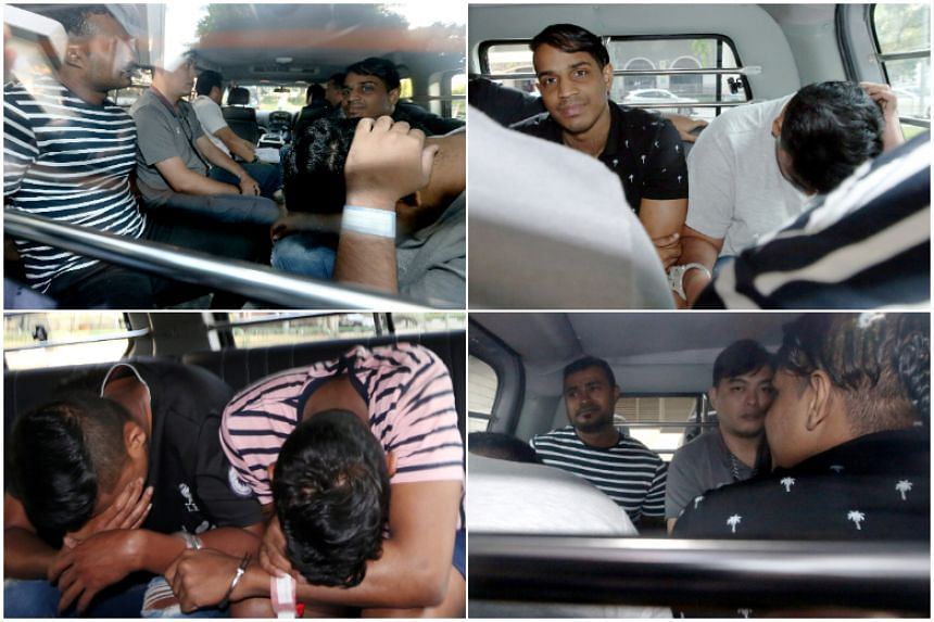 Five men were taken to court on July 27 over their alleged involvement in a slashing incident in Little India. The Straits Times reported earlier that a man was attacked with a kitchen knife and a samurai sword at a bus stop in front of Broadway Hote