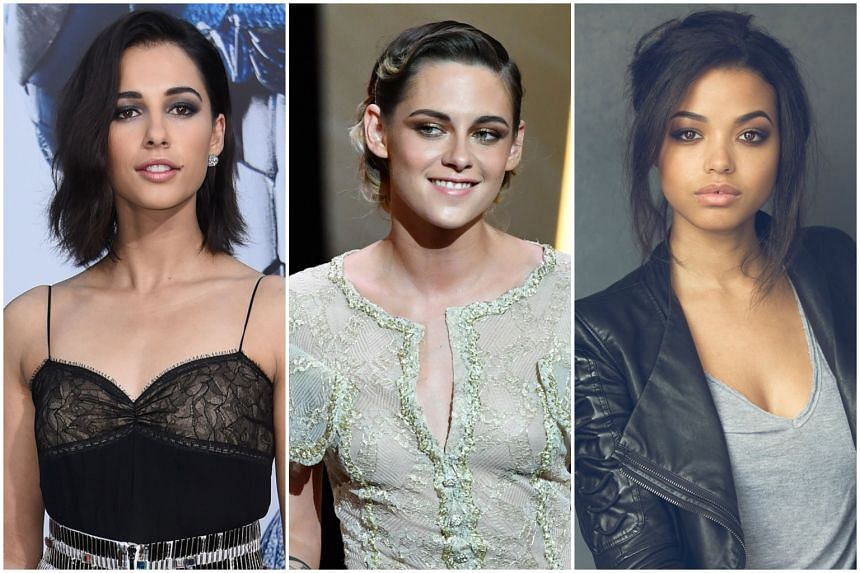 Stewart (centre) joins British actresses Naomi Scott and Ella Balinska in the lead roles of the new Charlie's Angels, of which the title and plot details remain unannounced.