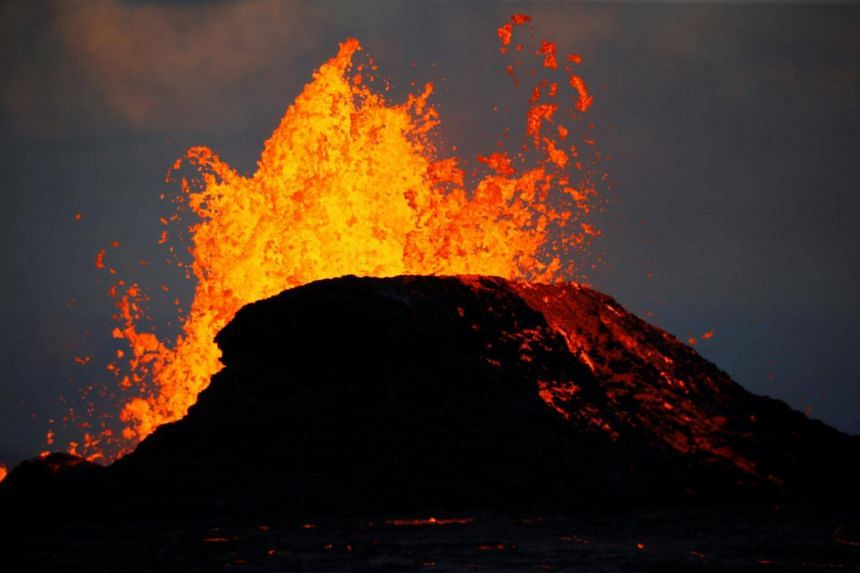 Lava gushing from a fissure eruption of the Kilauea Volcano, where geologists are keeping a close eye on for possible signs that indicate if the nearly three-month eruption is subsiding.