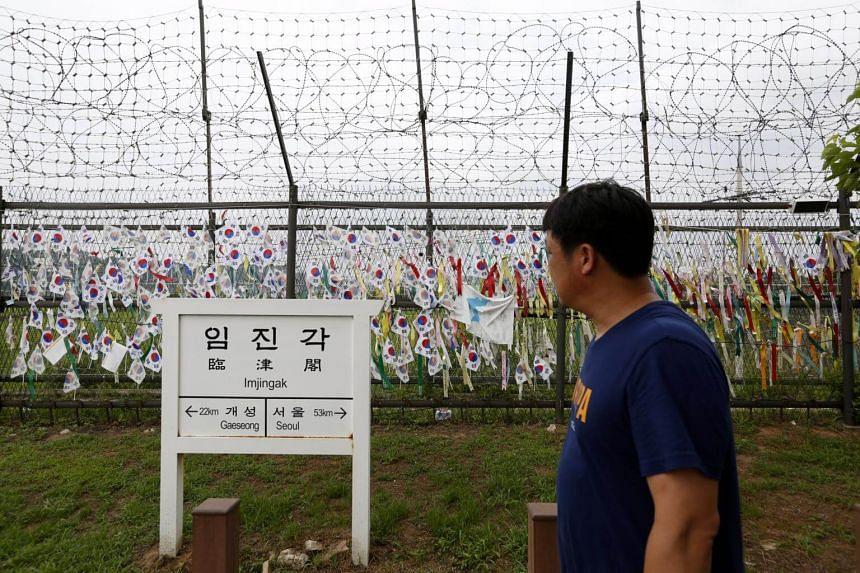 A South Korean visits Imjingak park near the Demilitarized Zone in Paju, Gyeonggi-do, on July 25, 2018.