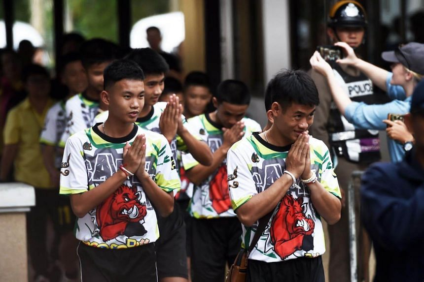 """The boys of the Wild Boar football team. A """"creative media"""" committee will be appointed to examine projects and ensure that producers comply with Thai laws when retelling the boys' ordeal."""