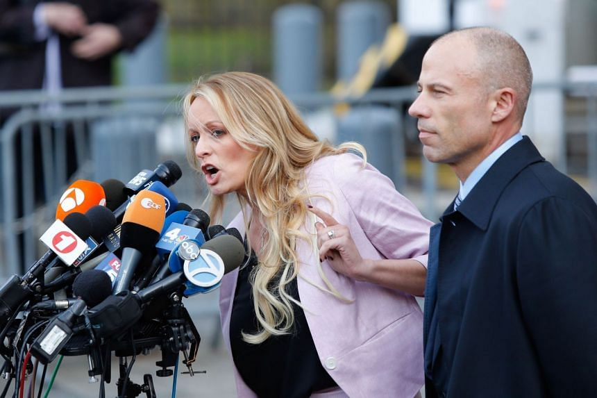 Adult-film actress Stephanie Clifford, also known as Stormy Daniels, with lawyer Michael Avenatti.
