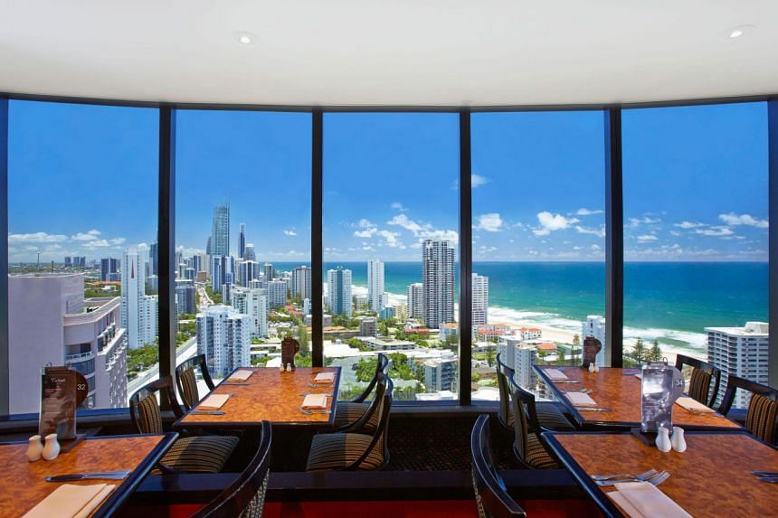 View from the revolving restaurant at Crowne Plaza Surfers Paradise.