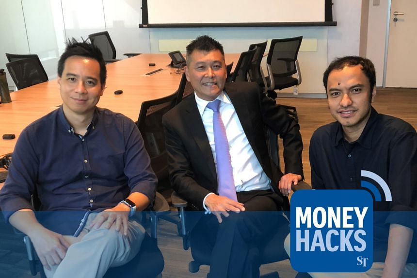 Mr Anthony Seow - head of unsecured loans and cards for DBS Bank - gives Money Hacks podcast hosts Chris Lim (left) and Ernest Luis (right) his top travel hacks for making the most of your air miles.